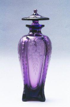 Frederick Carder Amethyst Engraved Cologne Bottle.
