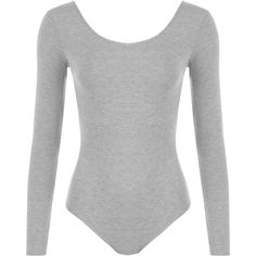 Annabelle Plain Long Sleeve Bodysuit (146.990 IDR) ❤ liked on Polyvore featuring intimates, shapewear and light grey