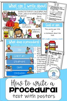 Print these prompts, planners, posters and rubrics to get your students writing procedural texts. The pack contains rubrics, planners and lined pages to use. #proceduraltexts #proceduralposters #proceduralrubrics #proceduralplanners