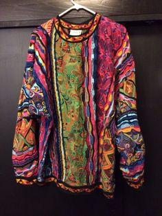 Mens Original Vintage Coogi Australia 3 D Texture Sweater Xl Bright Cosby
