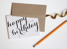 Kraft Stripe // Calligraphy Birthday Card