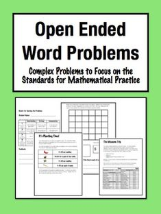 Open Ended Word Problems: Complex, Multi-Step Challenges (Grade for differentiation Standards For Mathematical Practice, Common Core Math Standards, Math Teacher, Teaching Math, 3rd Grade Math, Grade 3, Problem Based Learning, Math Challenge, Math Questions