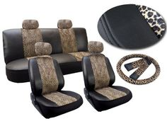 Cheetah Print Deluxe Leatherette 13pc Full Car Seat Cover Set Premium Synthetic Leather Double Stitched - Low Back Front Bucket Seats - Rear Bench - Steering Wheel Set - 4 Headrests