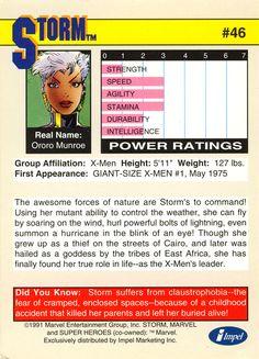 ororo munroe storm x-men 1991 marvel trading cards