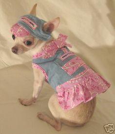 Pretty Girl Pink Denim Harness Set Dog Clothes Chihuahu | eBay