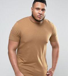 ASOS PLUS Longline Muscle T-Shirt In Brown - Brown