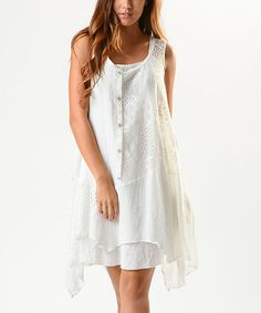 Look at this Aziza White Lace Collage Tank on #zulily today!