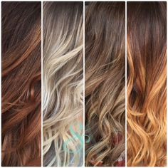 Shades of hair color. Fall hair colors. Ombré and Balayage