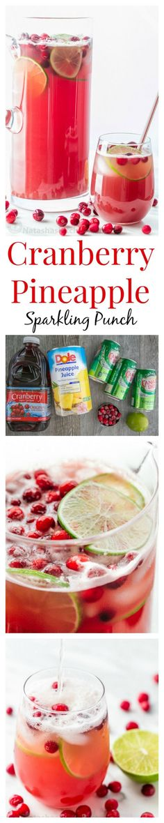 This Cranberry Pineapple Holiday Punch is crisp refreshing and loved by adults and kids. Perfect Party or Christmas Punch! And it's totally easy; like add and stir! #sponsored by Dole: