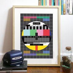 Universo de TV señal Poster Art Print 80 cartelismo TV gráficos en color - sin señal - Standby para transmisión - TV Poster lámina