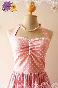 Cute Pale Pink Dress Tea Length Dress Classic