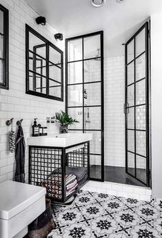 Black and white bathroom: 10 rooms to be inspired-Banheiro preto e branco: 10 ambientes para se inspirar Check out ideas of the classic black and white combination for the bathroom! (Photo: Reproduction) and white - Bathroom Furniture, Bathroom Interior Design, Minimalist Bathroom, White Bathroom, Amazing Bathrooms, Minimalist Bathroom Furniture, Bathroom Flooring, Bathrooms Remodel, Bathroom Decor