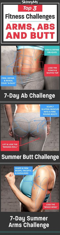 Lose Fat Fast - Best Fitness Challenges for Arms, Abs and Butt! - Do this simple 2 -minute ritual to lose 1 pound of belly fat every 72 hours Butt Challenges, Fitness Challenges, 7 Day Ab Challenge, Workout Challenge, 7 Day Abs, Fitness Herausforderungen, Fitness Plan, Fitness Legs, Workout Fitness