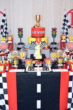 Vroom, vroom...let's race! Race car theme birthday party #desserttable #racecar #sweettable #racecarparty