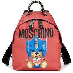 Moschino Bear Zip Backpack (€445) ❤ liked on Polyvore featuring bags, backpacks, leather knapsack, day pack backpack, zip top bag, patch backpack and top handle bags