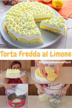 Torta fredda al limone di Benedetta senza cottura in forno, un dessert estivo fresco e delicato con la base di biscotti e limoncello e un doppio strato di  panna e yogurt con un cuore di crema al limone.
