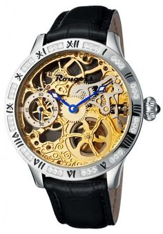 Rougois 2270M-S-1 Crystal Embellished Bezel Mechanical Skeleton Watch For Men