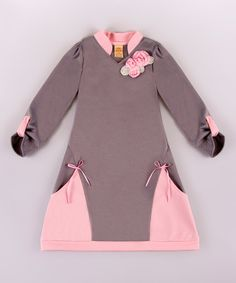 This Pink & Gray Side-Pocket A-Line Dress - Toddler & Girls is perfect! #zulilyfinds