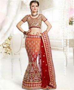 Ethnic Deep Peach Puff & Maroon Lehenga Choli [ADF28680] $178.63 - Buy fashion wear online, Buy Indian wear Online by A1designerwear.com
