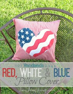 101 Handmade Days: Red White and Blue Pillow Cover - Busy Being Jennifer