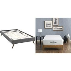 Modway Helen Twin Fabric Bed Frame with Round Splayed Legs, Gray with Modway Aveline 10