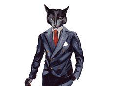 Cat in suit print-animal watercolor-black cat painting-animals in clothes-dressedfur-fashion illustration-cat portrait-modern art print by DressedFur on Etsy