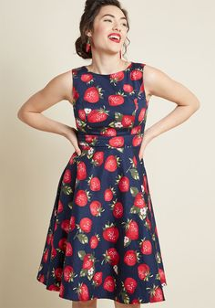 Twirl Back in Time Fit and Flare Dress in Strawberries f4959f70c