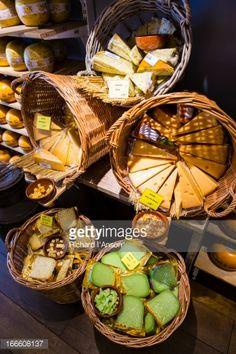Stock Photo : Cheese display in shop window