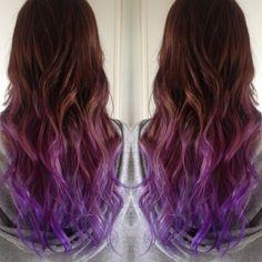 Lavanda con ondas Lavender Ombre Hair y Purple Ombre Brown To Purple Ombre, Purple Hair, Pink Purple, Purple Balayage, Purple Tips, Black Ombre, Best Ombre Hair, Ombre Hair Color, Hair Colors