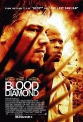 Blood Diamond. A disturbing yet captivating story of an african fisherman and a gunrunning/diamond smugglers lives crossing paths when a very large blood diamond is found and hidden. They are on the run to find and free the fishermans family all the while the rebels are close on their paths. See this creative and heart stopping story unfold into a miraculous ending.