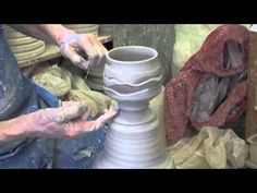 interesting use of different clays and ingredient to surface Throwing a Chawan off the hump - YouTube