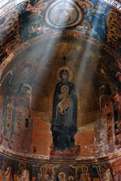 Apse of the Gelati monastery, Kutasi, Imereti, Georgia with natural light.