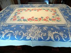 Vintage Farmhouse Tablecloth Patriotic Red White and Blue