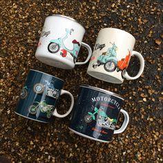 Jack Evans 'Motorbike' & 'Scooter' New Bone China Mugs #mug #scooter #motorbike #giftideas #forhim