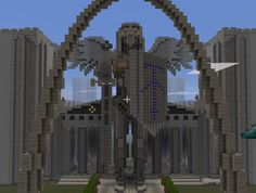 a view of these grand arches with the giant 'angel knight' statue the person built - Beauty Screenshots & Internet Finds used for Inspiration - Minecraft Pics - MuttsWorld