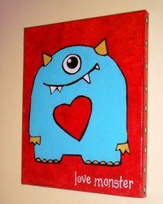 Little Love Monster Original Art Wall Painting Nursery Playroom Blue Red Acrylic… Monster Room, Love Monster, Monster Party, Cute Monsters, Little Monsters, Painting For Kids, Art For Kids, Nursery Paintings, Fete Halloween