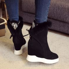 68.88$  Watch now - http://ali7so.worldwells.pw/go.php?t=32758730957 - Women's Wedge Platform Lace-up Comfortable Ankle Boots Brand Designer Rabbit Fur Lace-up Winter Short Booties Real Leather Shoes
