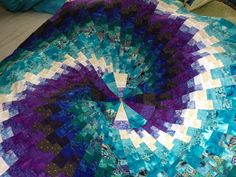 This is the second bargello in the round made from scraps from the first bargello quilt.