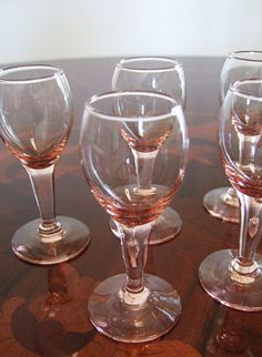 Set of 5 Pink Depression Glass Cordial Liqueur by KnightandNole, $25.00