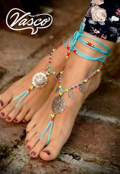 6b18625c8c140 2018 Summer Fashion Trends. Barefoot Sandals. Blue Hippie Shoes. Silver  Gypsy Bellydance Shoes