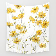 Yellow Cosmos Flowers Wall Hanging Tapestry by Jessica Rose - Small: x