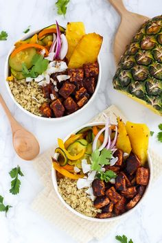 Vegan Hawaiian BBQ Tofu Bowls packed with flavor and crispy tofu! [Guest post by Emilie Eats]