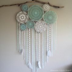 """Custom made colour crochet wall mural Happy Sunday fun day! """"If you want something you never had you have to do something you've never done"""". Shop now (see bio for our weblink) Doily Dream Catchers, Dream Catcher Decor, Doily Art, Creation Deco, Shabby Chic Interiors, Make Color, Home Design, Mobiles, Wall Murals"""