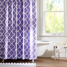 Mariah Plum Purple Paisley Cotton Fabric Shower Curtain