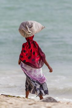 Women carrying seaweed on Zanzibar - Women carrying seaweed on Zanzibar