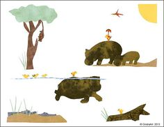 African Hippo Art | Hippos at the River,