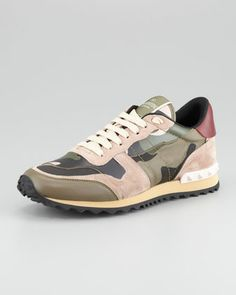 Rockstud+Camo+Sneaker,+Green+by+Valentino+at+Neiman+Marcus.