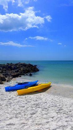 Beach landscape Sea Kayaks Day at the Beach Gulf by HikingTuesday