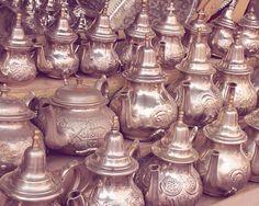 Tea pots print silver brass metal detail neautral by diemdesign, $26.00