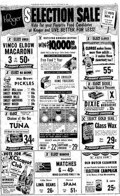 Vintage Kroger Ad, Vimco Elbow Macaroni, Plain Dealer, Clevelnd, OH, October 10, 1952, pg 19, Viviano Macaroni Co, Carnegie, PA